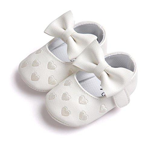 Ouneed® Krabbelschuhe , 0-18 Monate Baby Bowknot schuhe Sneaker Anti Rutsch weiche Sohle Kleinkind Weiß