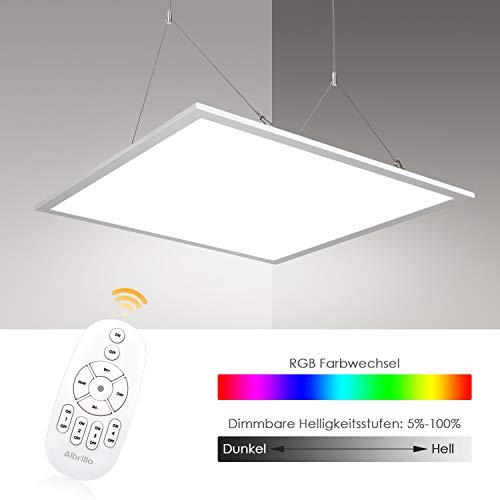 Albrillo RGB LED Panel 62x62cm - 40W Dimmbar Deckenleuchte mit 7 Lichtfarben und Neutralweiß 4000K, Inkl. Einstellbare Seilaufhängung, Montage Klemme, Fernbedienung und LED Trafo