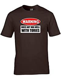 WARNING- DOES NOT MIX WELL WITH TORIES- Anti Government Men's T-shirt from Ice-Tees