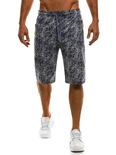 OZONEE Herren Hose Shorts Kurzhose Sporthose Fitness Freizeitshorts Jogginghose Bermudas RED FIREBALL 1009 DUNKELBLAU XL