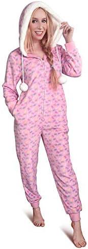 LittleForBig Super zacht pluche fleece volwassen Onesie pyjama Sherpa gevoerde hoody een stuk slaapkleding - S