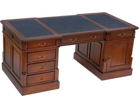 MOREKO Partnerdesk Antik-Stil Schreibtisch Massiv-Holz Mahagoni Arbeitstisch Schreibeinlage Schwarz