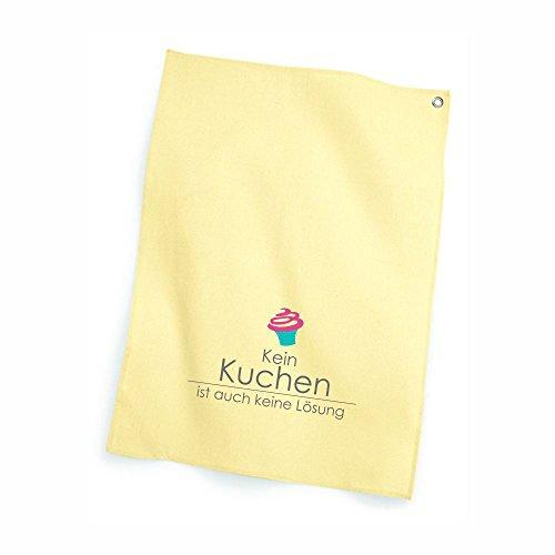 4you Design Geschirrtuch gelbKein Kuchen ist auch keine Lösung, Pastell, Patellgelb, Küchentuch, Küchenzubehör, Geschenkidee, Geburtstagsgeschenk, Mann, Frau, Spruch