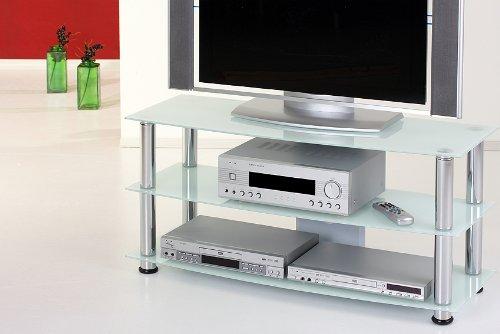 Milch Glas LCD Plasma TV Rack Tisch Phono Fernsehen Untertisch Hifi Schrank Bank