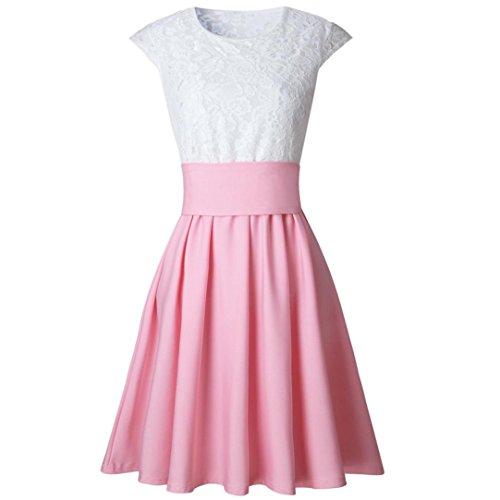 gonna donne Vovotrade Vestiti da skater del manicotto del bicchierino di estate delle signore del mini vestito da cocktail del partito del merletto Rosa