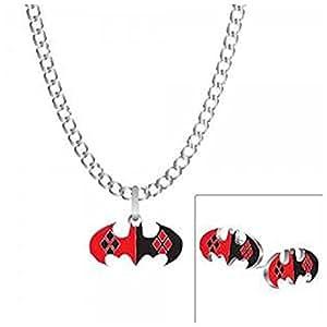 Officiel DC Comics Harley Quinn collier boucles d'oreilles ensemble de bijoux Batman Joker
