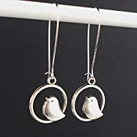 Long Bird Earrings with Sterling Silver earwires, and Gift Box