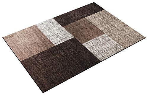 Paco Home Designer Teppich Modern Kariert Kurzflor Teppich Design Meliert In Braun Creme
