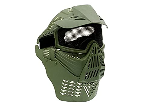 Begadi Full Face / Protective Mask with Visor & throat protector, padded, with wireframe - olive