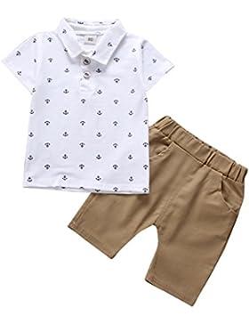 ESHOO Camisa Casual de Algodón con Estampado Floral de Niños Pequeños Tops Shorts Blancos Conjunto de Ropa de...