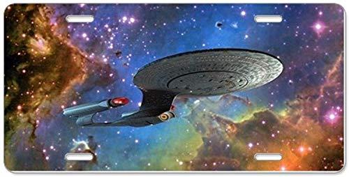 Fhdang Decor StarTrek 1701D Adler Nebula, Aluminium-Nummernschild, Front-Kennzeichen, Vanity Tag mit 4 Löchern, Autozubehör, 15,2 x 30,5 cm (Kennzeichenhalter Adler)