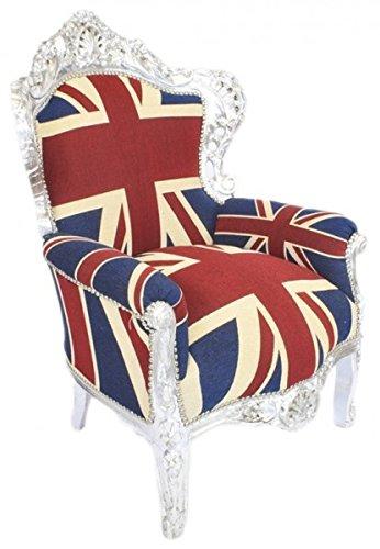 Barock Sessel Englische Flagge Union Jack/Silber - Barock England Sessel