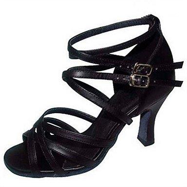 Scarpe da ballo-Personalizzabile-Da donna-Balli latino-americani Jazz Salsa Scarpe da swing-Tacco su misura-Raso Finta pelle-Nero dark red