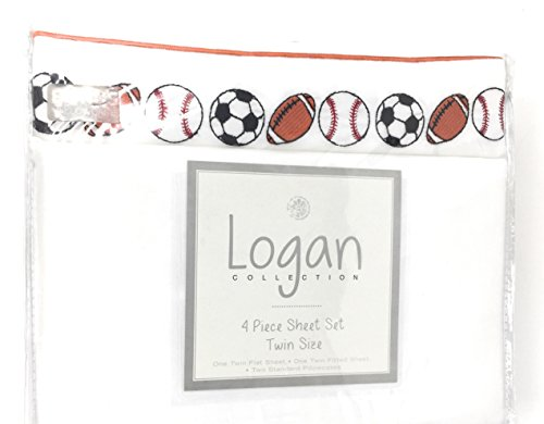 Logan Collection Sport Thema Gesticktes Baseball Football Fußball | 4PC Tabelle Twin-Set