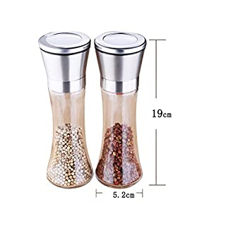 Remelon Salt and Pepper Mills Premium Set of Salt and Peppercorn Grinders with Adjustable Ceramic Coarseness Stainless Steel Salt and Pepper Shakers£¨2pcs Spices Grinders£©