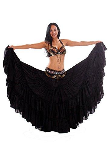 Miss Belly Dance Bauchtanz tribal rock-bh und gürtel kostüm gesetzt achojai tribal für damen X-Groß Schwarz/kupfer (Kupfer Bauchtanz Kostüm)