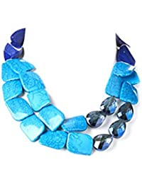 Accesorios Lux azul Crackled piedra two-strand collar