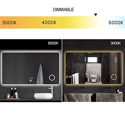 Espejo De Baño con Luz LED con Lupa Antideflagrante Y Antiniebla Smart Touch Regulable, Pantalla De Tiempo/Temperatura HD Mirror, 800 * 600 Mm