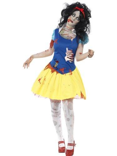 Smiffys, Damen Zombie-Snow Fright Kostüm, Kleid mit Latex Brustteil und Haarband, Größe: L, (Erwachsene Für Perücke Schneewittchen)