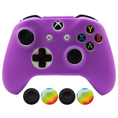 Hikfly Silicona Controlador Cubrir Piel Protector Caso Placas Frontales Kits con 4pcs Thumb Grips Kit para Xbox One Slim / S Controller(Púrpura)