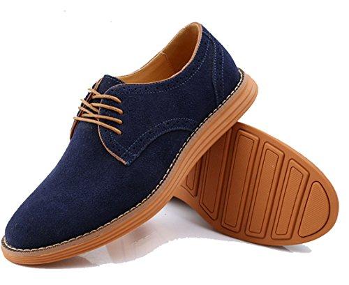 Anlarach Vêtements pour hommes occasionnels Swede Leather Brogue Oxford Chaussures Bleu