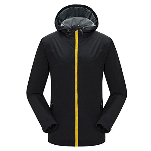 Zhhlinyuan vêtement de sport Men's Hooded Softshell Jacket Breathable Lightweight Mountain Bike Jacket Black