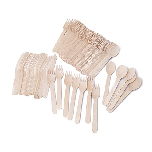 VWH 100Pcs/Set Wooden Disposable Cutlery Wood Spoon Forks Tableware Dinnerware Kit For Party Wedding Picnic