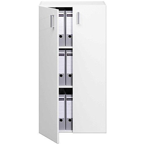 TRIO Standregal Bücherregal Bücherschrank Regal Mehrzweckschrank Schrank mit 2 Türen - 115,5cm - weiß - 3