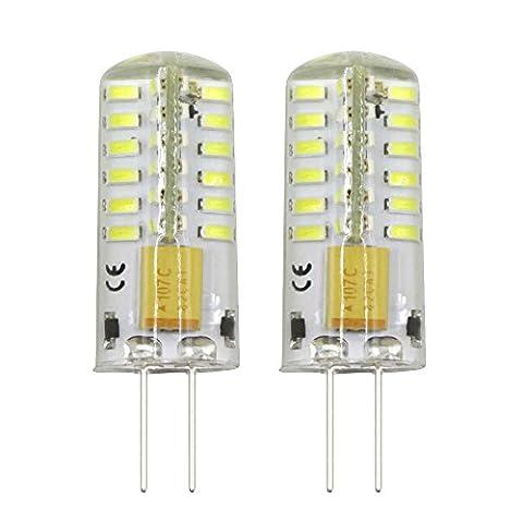 Dayker 2er-pack 3W AC DC 12V G4 LED Lampe Birne Leuchtmittel Bi-Pin Glühlampe Kaltweiss 6000-6500K 48 PCS SMD3014 Kapsel 25W Halogenbirne Ersatz