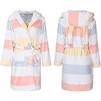 LIUDOU Coral Fleece Long Sleeve Robe donne autunno colore Stripe