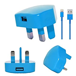 Aulola® High Quality USB Plug & 8 pin Lightning Data Sync Charging Cable for Apple iPhone X, 8, 7 Plus 6S 6 Plus (BLUE 7G 2-1)