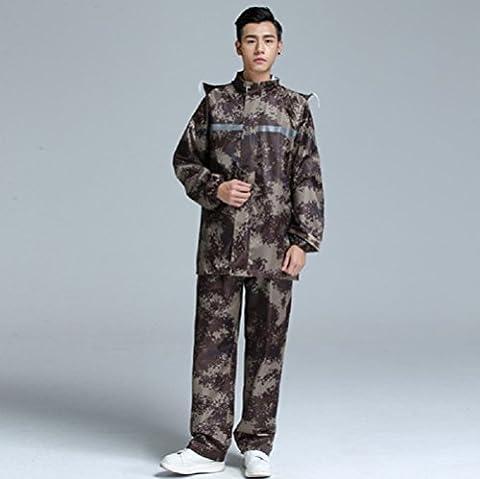 ZH&J Outdoor Camouflage Oxford Tuch Anzug Regenmantel Regen Hose, erwachsene Männer und Frauen allgemeine Outdoor-Fahrrad fahren doppelte dicke Regen Stiefel,A,one size