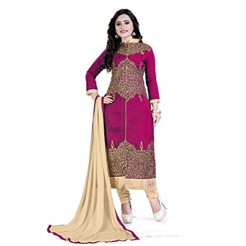 Siddeshwary Fab Pink And Beige Golden Mehendi Embroidered shiny Designer A-line Salwar Suit Dress Material