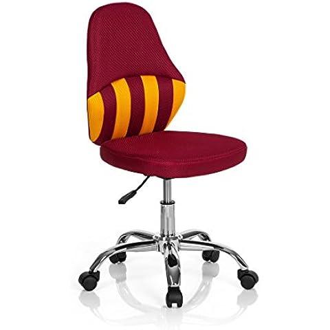 hjh ufficio bambini scrivania sedia da ufficio sedia Kiddy Stripe, Tessuto, rosso/giallo, 39.00x9.00x96.00 cm