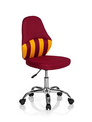 hjh OFFICE 670640chaise de bureau enfant, chaise junior KIDDY STRIPE rouge/jaune en tissu sans accoudoirs, piètement robuste et stable en acier chromé, facile à monter, siège pivotant réglable en hauteur
