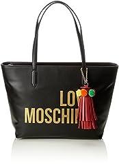 Idea Regalo - Love Moschino Borsa Grain Pu Nero - Borse a spalla Donna, (Black), 14x28x42 cm (B x H T)