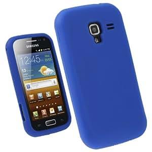 igadgitz Bleu Étui Housse Silicone pour Samsung Galaxy Ace 2 I8160 Android Smartphone + Protecteur d'écran