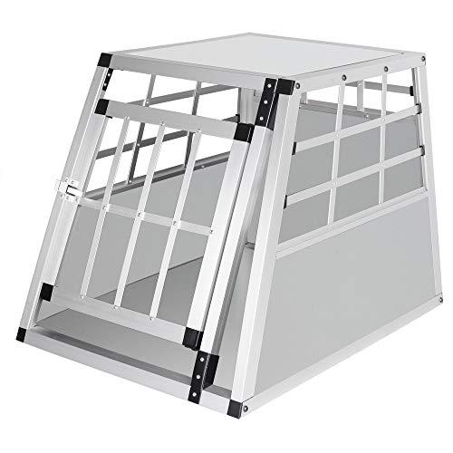 Elightry Trasportino per Auto Gabbia Box in Alluminio Cagnolino Gattino con Serratura di Sicurezza Colore Bianco YDLGL0002ws