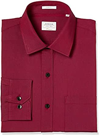 Arrow Men's Solid Slim Fit Cotton Formal Shirt (AFUSH0622_Maroon_48)