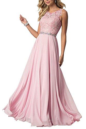 CLLA dress Damen Chiffon Spitze Abendkleider Elegant Brautkleid Lang Festkleid Ballkleider(Rosa,40)