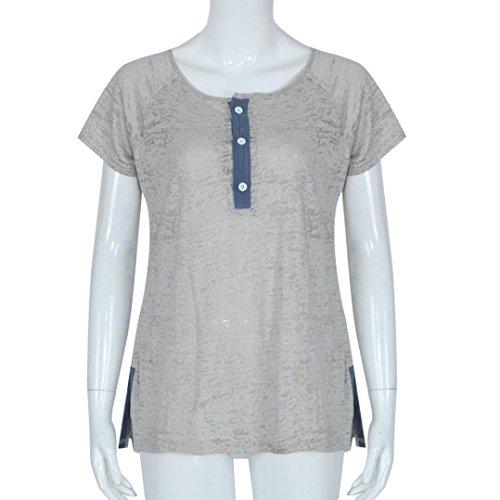Amlaiworld Femmes en vrac bouton occasionnel Blouse T Shirt débardeurs Gris