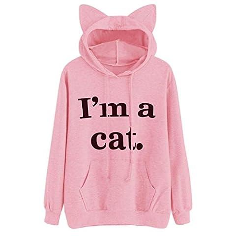 SaKure Girls Hooded Hoody, Womens Long Sleeve Letter Print Pocket Cat Hoodie Sweatshirt Pullover Tops Blouse Sweater (M, pink)