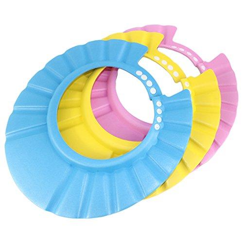 Dianoo bambini bambino bambini impermeabile bagnarsi berretto shampoo doccia proteggere cappello regolabile set di 3