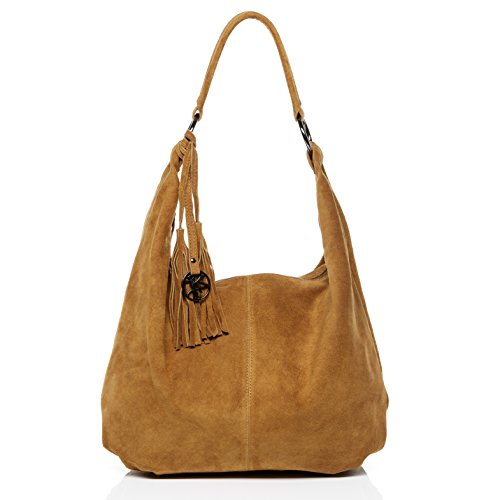 BACCINI® Beuteltasche SELINA - Damen Schultertasche groß Ledertasche - Hobo Bag mit Fransen Damentasche echt Wildleder braun-beige (Große Hobo Bag Schulter)