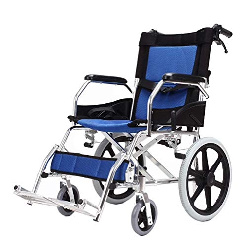 Aluminium Transit Rollstuhl Ultra Leichtgewicht Falten, Attendant Propelled Travel Chair mit Detachable Foot Rest Talle Handles und Handbremsen (Arm Folding Chair)