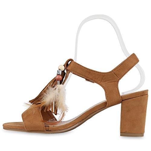 Damen Sandaletten Blockabsatz High Heels Quasten Fransen Schuhe Hellbraun Federn