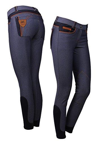 Braune Denim-stoff (QHP Damenreithose Claire Jeans Stoff-Kniebesatz denim, braune Details Gr. 38)