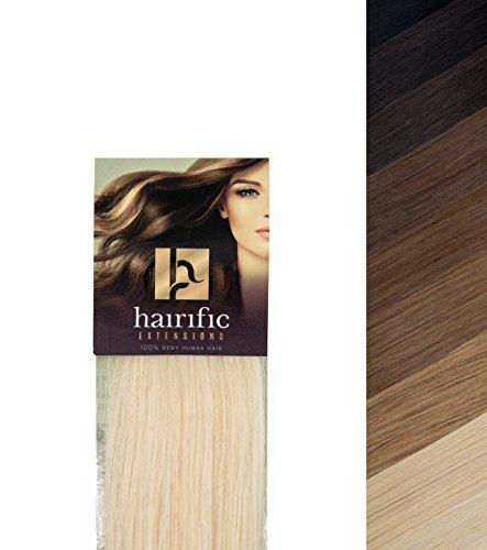 hairific Tape Echthaar Extensions, 40cm, Platin Blond, extra starkes Tape für langen Halt, 100% echtes Remy Hair für Haarverdichtung- und Verlängerung