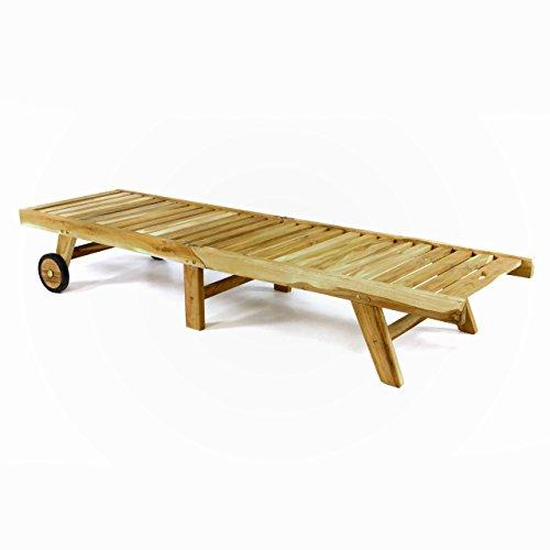 Divero GL05657 klappbare Sonnenliege Gartenliege Relaxliege Holzliege Liege aus unbehandeltem Teak-Holz 200x57x34 extra hohe und bis zur Liegeposition verstellbare Rückenlehne,