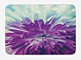 Doormats Dahlia Bath Mat, Violet Colored Blooming Dahlia Close-Up with Petals in Pale Sunshine Floral, Plush Bathroom Decor Mat with Non Slip Backing, 23.6 X 15.7 Inches, Purple Mint Green